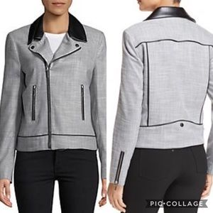T TAHARI Quimby Mixed Media Moto Jacket